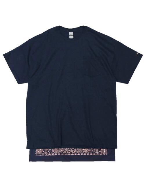 C.E.L.STORE(セルストア)の「RE CONSTRUCT/リコンストラクト BANDANA TAIL POCKET TEE(Tシャツ/カットソー)」|ブルー