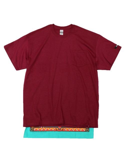 C.E.L.STORE(セルストア)の「RE CONSTRUCT/リコンストラクト BANDANA TAIL POCKET TEE(Tシャツ/カットソー)」|ワインレッド