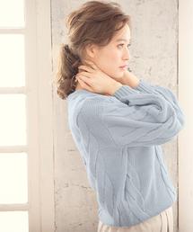KOBE LETTUCE(コウベレタス)のふっくらシルエットなのに女性らしい華奢さが引き立つ!Vネック☆フロントケーブルニットプルオーバートップス/レディースセーター/長袖[C2488]神戸レタス(ニット/セーター)
