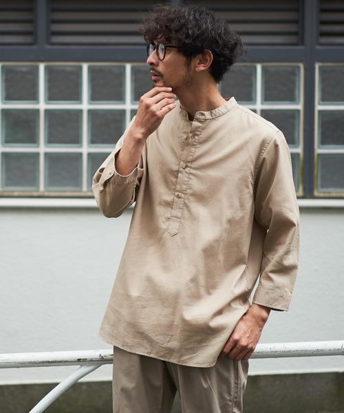 ワッフル織り7分袖プルオーバーシャツ