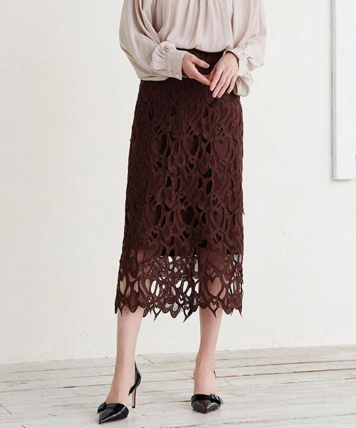 Ranan(ラナン)の「ハート柄レースミディ丈スカート(スカート)」|ブラウン