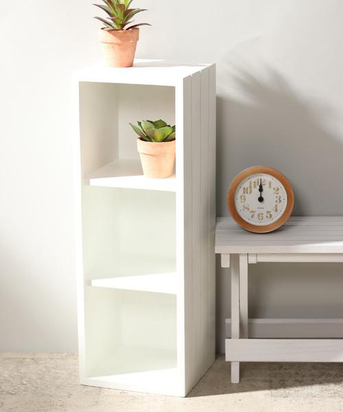 TOKYO DESIGN CHANNEL(トウキョウデザインチャンネル)の「WOODボックス3段                   (家具)」|ホワイト