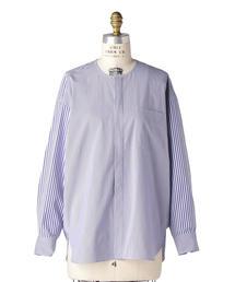 Drawer ミックスストライプノーカラーシャツ