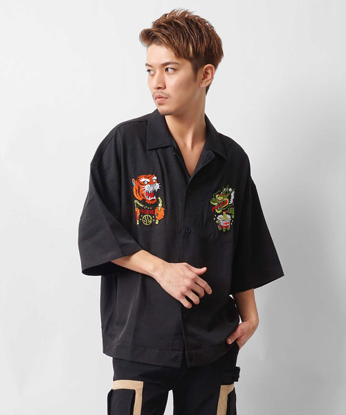 Lazy Tokyo Tiger and Dragon Embroidery半袖シャツ