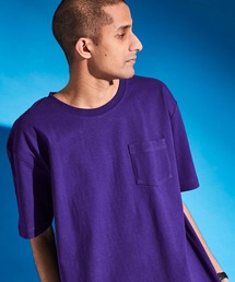 USA COTTON ヘビーウェイト ビッグシルエット 1ポケットクルーネック半袖Tシャツパープル