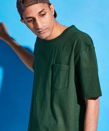 USA COTTON ヘビーウェイト ビッグシルエット 1ポケットクルーネック半袖Tシャツグリーン系その他