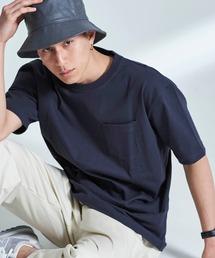 USA COTTON ヘビーウェイト ビッグシルエット 1ポケットクルーネック半袖Tシャツネイビー