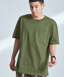 USA COTTON ヘビーウェイト ビッグシルエット 1ポケットクルーネック半袖Tシャツオリーブ