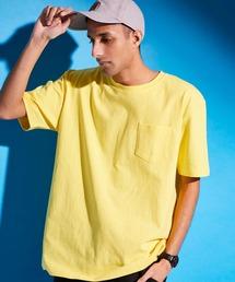 USA COTTON ヘビーウェイト ビッグシルエット 1ポケットクルーネック半袖Tシャツレモンイエロー