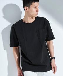 USA COTTON ヘビーウェイト ビッグシルエット 1ポケットクルーネック半袖Tシャツブラック