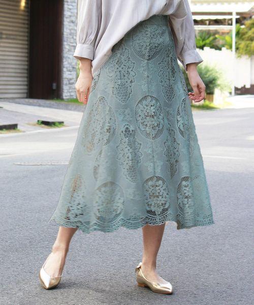 Perle Peche(ペルルペッシュ)の「レースフレアロングスカート(スカート)」|カーキオリーブ
