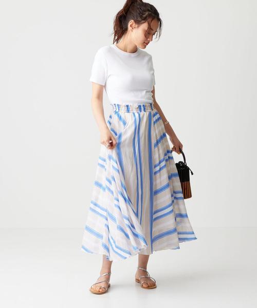ne quittez pas(ヌキテパ) VOILE ストライプ スカート
