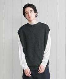 <H>TWIST COTTON CREW NECK KNIT VEST/ベスト