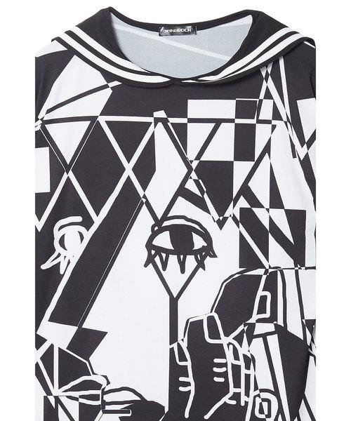 絵画ラインセーラーTシャツ -メガビッグ-