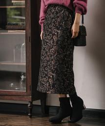 mysty woman(ミスティウーマン)のジャガードタブ付きナロースカート 858181(スカート)