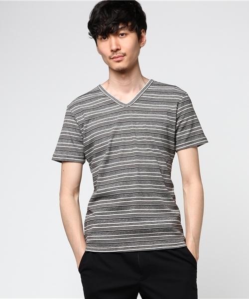 ランダムボーダーVネックTシャツ