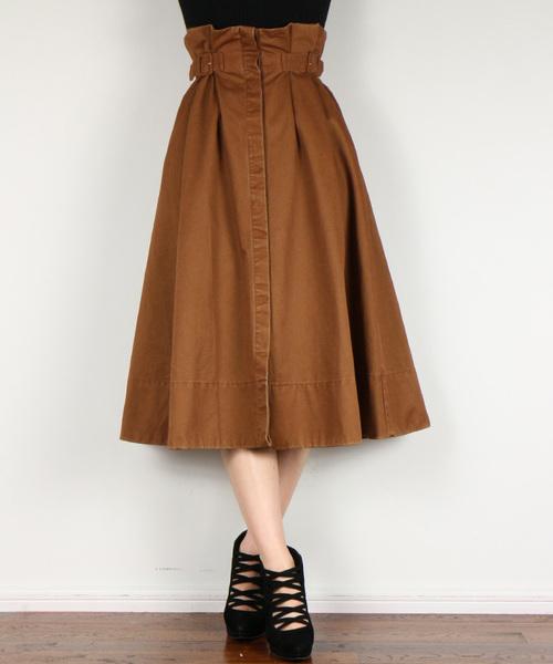 DEICY(デイシー)の「サイドベルトチノフレアースカート   (スカート)」|ブラウン