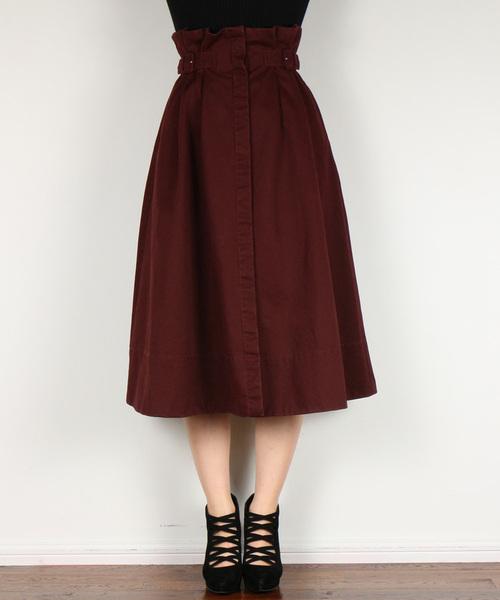 DEICY(デイシー)の「サイドベルトチノフレアースカート   (スカート)」|ワイン