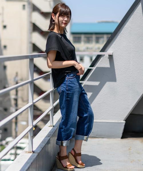 Wordtrobe(ワードトローブ)の「【wordtrobe】30/- TR天竺 刺繍PO(Tシャツ/カットソー)」|ブラック