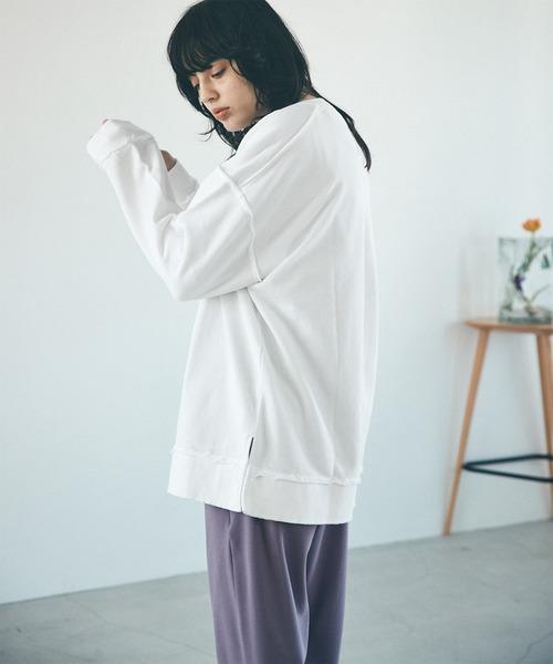 オーバーサイズ カットオフビッグプルオーバースウェット【EMMA CLOTHES/エマクローズ】2021S/S