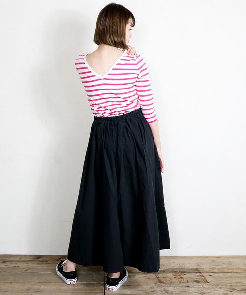 【Le Minor / ルミノア】バックVネックボーダーTシャツ
