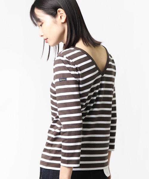 ∴【Le Minor / ルミノア】マドモアゼル 深V バックVネックボーダーTシャツ ダブルフロント