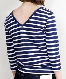 Le Minor(ルミノア)の【Le Minor / ルミノア】バックVネックボーダーTシャツ(Tシャツ/カットソー)
