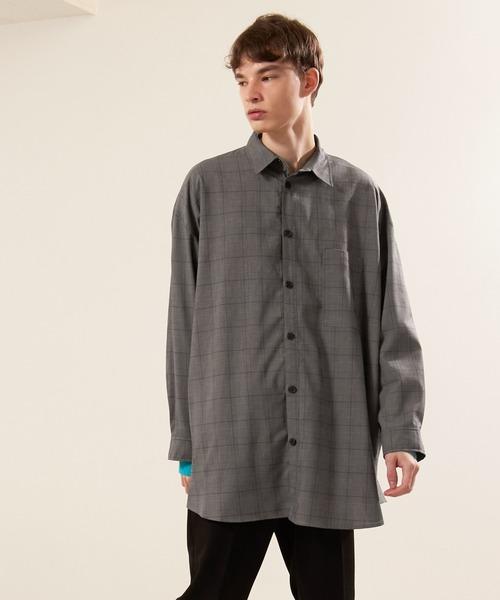 TR裾ラウンドビッグシルエットレギュラーカラーシャツ