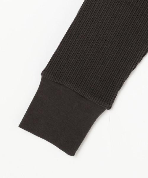 ワッフル素材無地&ボーダーアソート袖口リブ編みカットソー