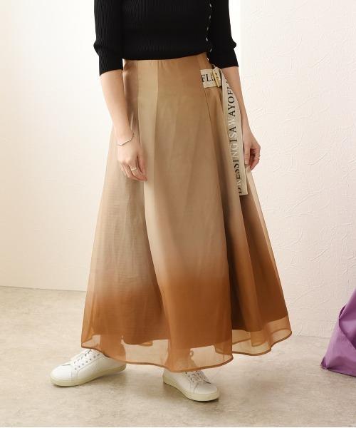 グラデーション柄ロゴテープベルト付スカート