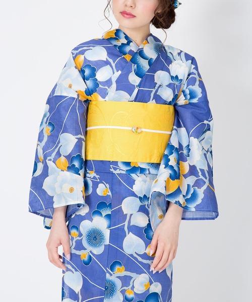 KIMONOMACHI(キモノマチ)の「レディース浴衣セット 変わり織り綿浴衣+浴衣帯の2点セット LADY STYLE(浴衣)」 ラベンダー