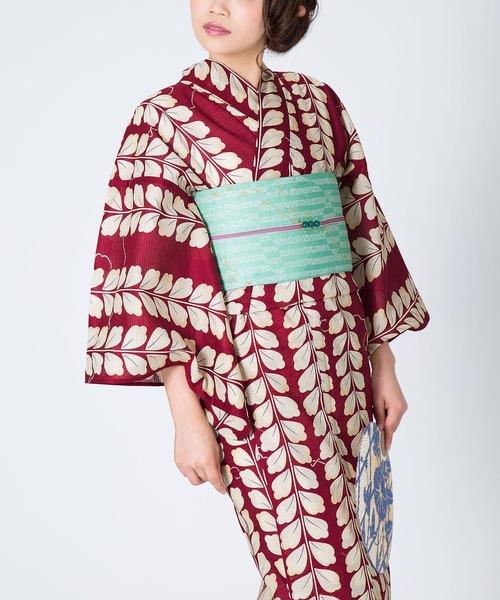 KIMONOMACHI(キモノマチ)の「レディース浴衣セット 変わり織り綿浴衣+浴衣帯の2点セット LADY STYLE(浴衣)」 エンジ