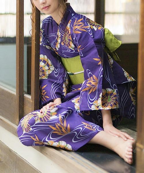 KIMONOMACHI(キモノマチ)の「レディース浴衣セット 変わり織り綿浴衣+浴衣帯の2点セット LADY STYLE(浴衣)」 バイオレット