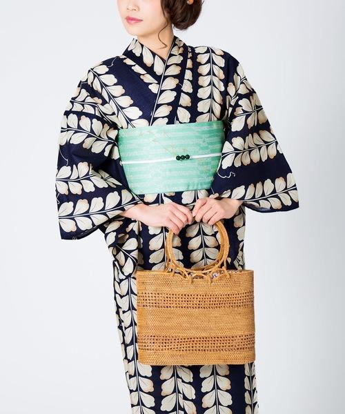 KIMONOMACHI(キモノマチ)の「レディース浴衣セット 変わり織り綿浴衣+浴衣帯の2点セット LADY STYLE(浴衣)」 ネイビー