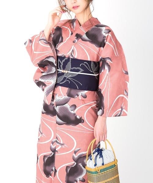 KIMONOMACHI(キモノマチ)の「レディース浴衣セット 変わり織り綿浴衣+浴衣帯の2点セット LADY STYLE(浴衣)」 スモークピンク