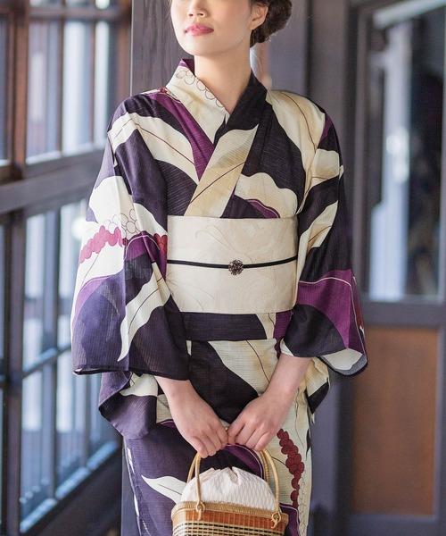 KIMONOMACHI(キモノマチ)の「レディース浴衣セット 変わり織り綿浴衣+浴衣帯の2点セット LADY STYLE(浴衣)」 ダークラベンダー