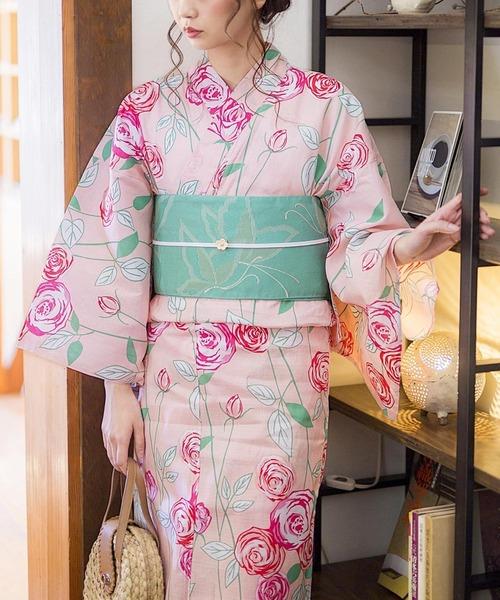 KIMONOMACHI(キモノマチ)の「レディース浴衣セット 変わり織り綿浴衣+浴衣帯の2点セット LADY STYLE(浴衣)」 ピンク