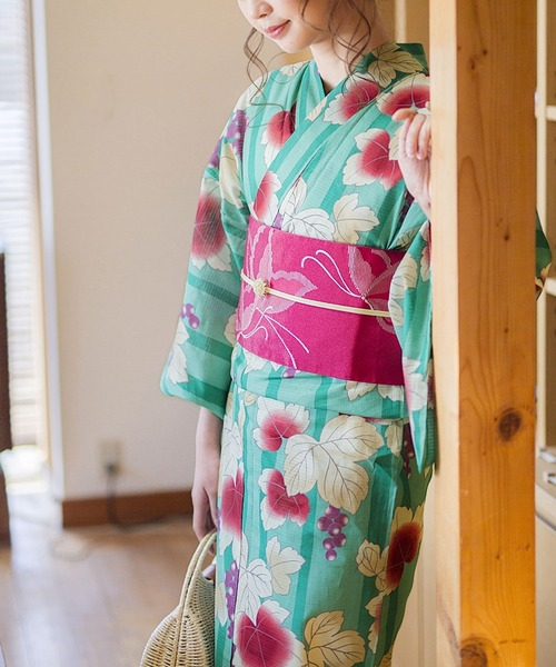 KIMONOMACHI(キモノマチ)の「レディース浴衣セット 変わり織り綿浴衣+浴衣帯の2点セット LADY STYLE(浴衣)」 エメラルド