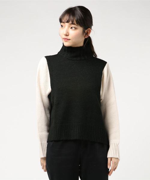 天竺編み 袖配色ニット