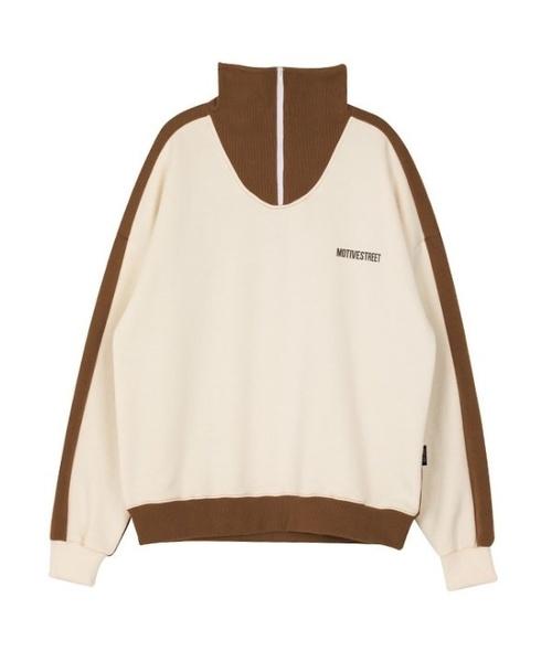 【motivestreet】マスク ハーフ ジップアップ スウェットシャツ