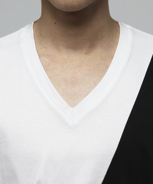 シルケットスラッシュ切替VネックTシャツ