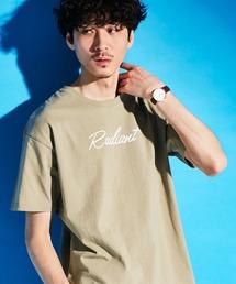 ロゴ×ARTプリントオーバーサイズクルーネック半袖Tシャツ/Radiant/SURF/LADY/FLOWER/MESSAGEベージュ