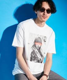 ロゴ×ARTプリントオーバーサイズクルーネック半袖Tシャツ/Radiant/SURF/LADY/FLOWER/MESSAGEホワイト系その他2