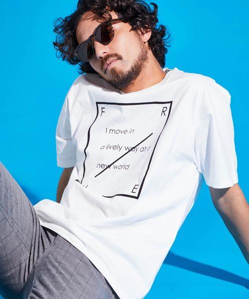 ロゴ×ARTプリントオーバーサイズクルーネック半袖Tシャツ/Radiant/SURF/LADY/FLOWER/MESSAGE