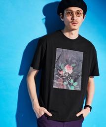 ロゴ×ARTプリントオーバーサイズクルーネック半袖Tシャツ/Radiant/SURF/LADY/FLOWER/MESSAGEブラック系その他5