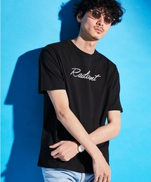 ロゴ×ARTプリントオーバーサイズクルーネック半袖Tシャツ/Radiant/SURF/LADY/FLOWER/MESSAGEブラック