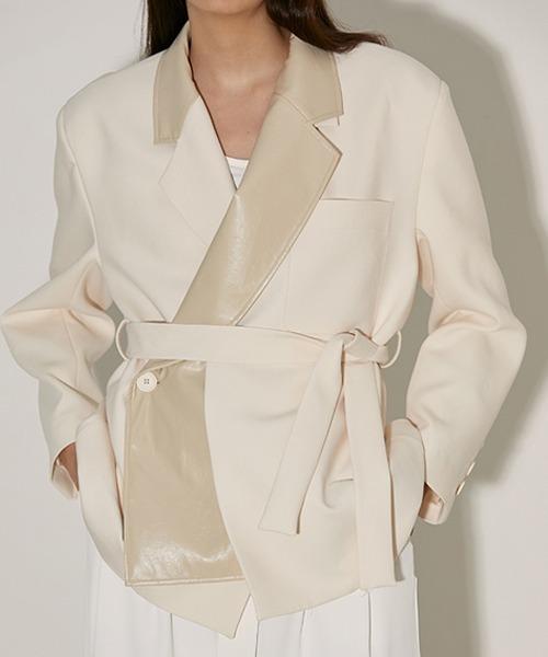 【UNSPOKEN】ビッグシルエット ラペル切り替えテーラードジャケット JKT FAZ20016