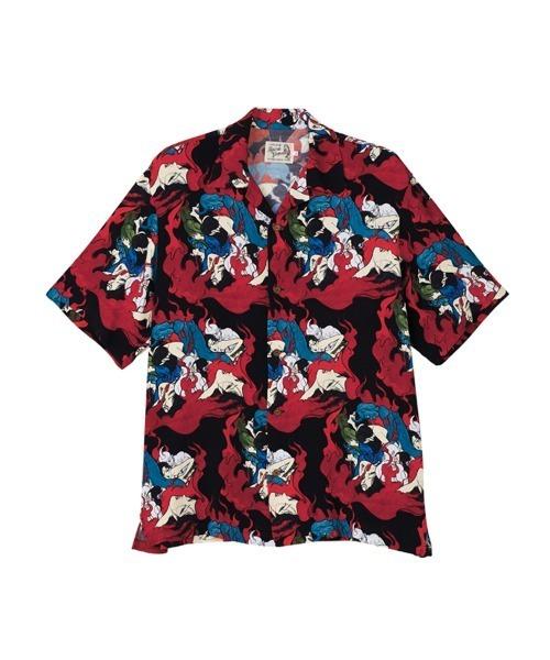 KAZUO KAMIMURA/DEVILISH FLAME柄 アロハシャツ