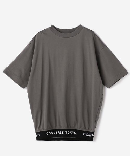 裾ロゴリブTシャツ