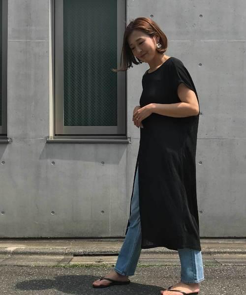 SUMMERニット/後ろ絞りスリットワンピース